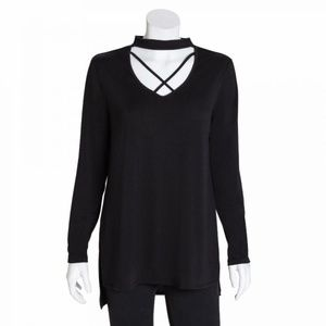 Bobbie Brooks Black Choker Tunic Statement Top 3X